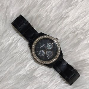 Black and silver with diamond detail Fossil watch